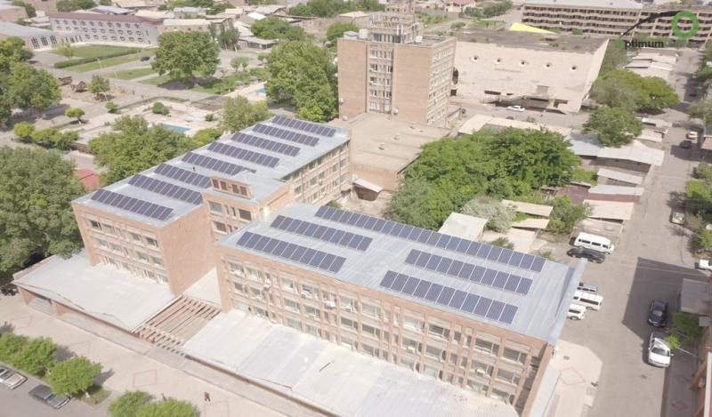 solar power - Etchmiadzin Sport School - Roof mount solar power plant